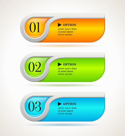 Shine horizontal colorful options banners or buttons template. Vector illustration Vector