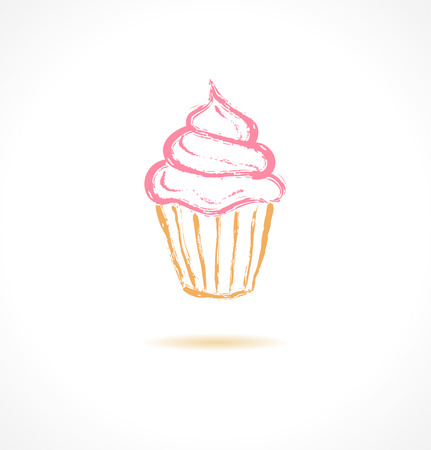 whipped cream: Ink pink cupcake. Vector illustration