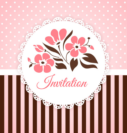 Vintage vector invitation card with flowers Vector