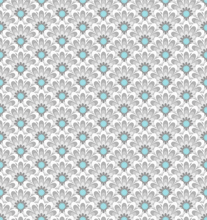 Stylized asian retro seamless pattern with color flowers. Vector