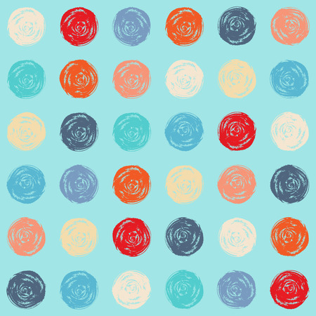Color seamless grunge polka dots pattern Vector