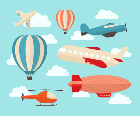 airplane cartoon: Set of colorful flat air transports Illustration