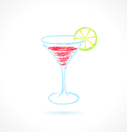 Red cocktail with lime. Ink vector illustration Vector