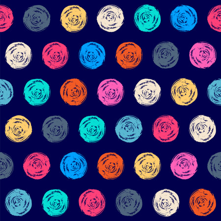Color seamless grunge polka dots pattern Vector