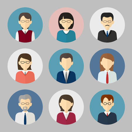character of people: Colorful business people face. Circle icons set in trendy flat style