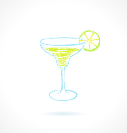 Classic margarita cocktail with lime  Ink vector illustration Vector