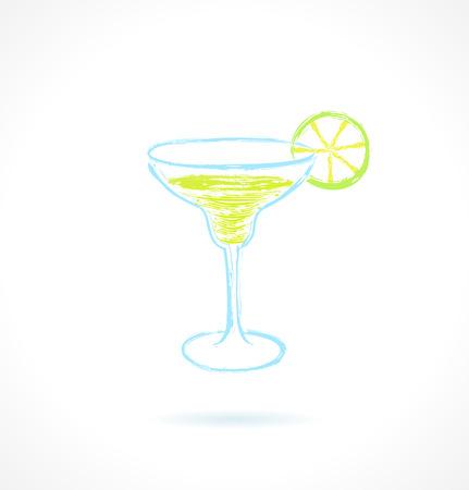 coctel margarita: Coctel clásico del margarita con la ilustración de la cal vector de tinta