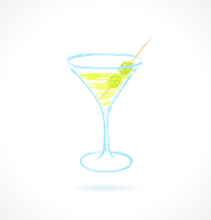 shaken: Cocktail with olives  Ink vector illustration