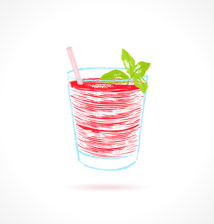 shaken: Red cocktail con menta guarnire illustrazione vettoriale di inchiostro Vettoriali