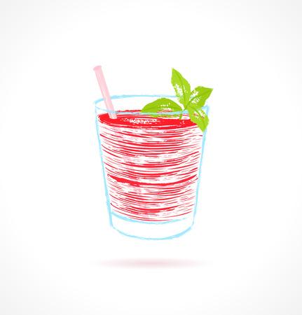 shaken: Red cocktail with mint garnish  Ink vector illustration Illustration