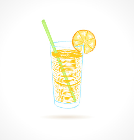 Orange cocktail with tubule and orange slice  Ink vector illustration Vector