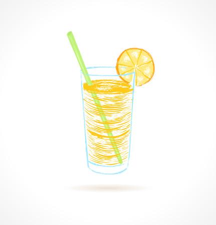 tubule: Orange cocktail with tubule and orange slice  Ink vector illustration Illustration