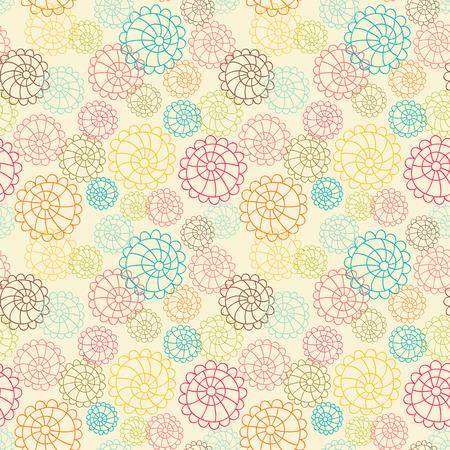 シームレスな花模様の手描きのパターンを色します。