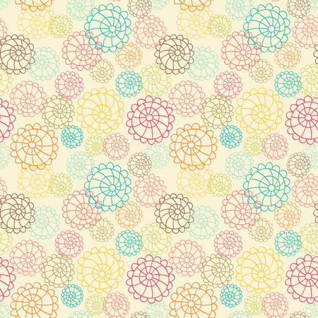 Color seamless floral hand drawn pattern