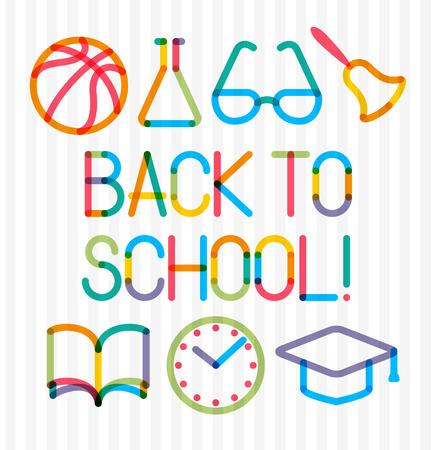 """multiply: Iconos de la educaci�n se multiplican moda y la frase """"Volver a la escuela!"""" Vectores"""