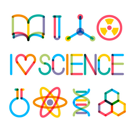 Trendy multiply science icons and phrase I love science
