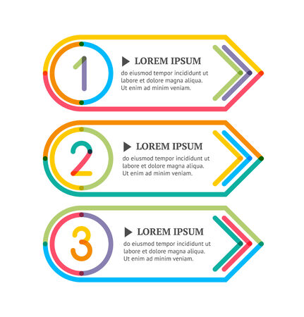 Modern option banners. Colorful lines and numbers on white background.  Vector