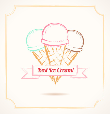 Vintage grunge poster. Three ice cream cones with bow Vector