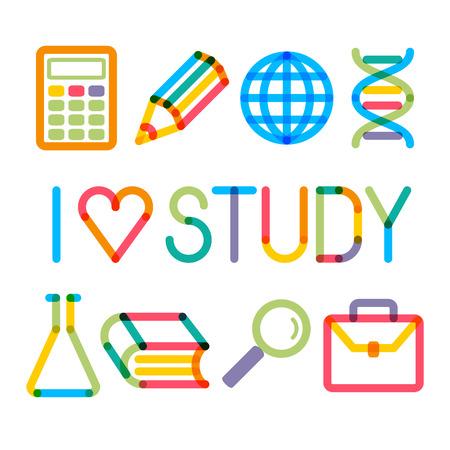 """multiply: Iconos de la educaci�n se multiplican moda y la frase """"Me gusta estudiar!"""" Vectores"""