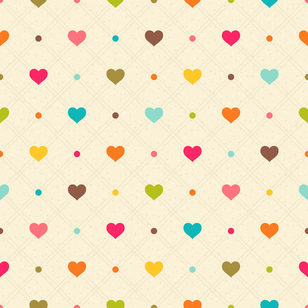 Checkered color seamless textured polka dots pattern with hearts Vector