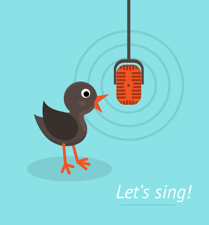 Music concept with microphone and singing bird. Banner for karaoke, parties, music lessons and etc. Flat design style. Vector