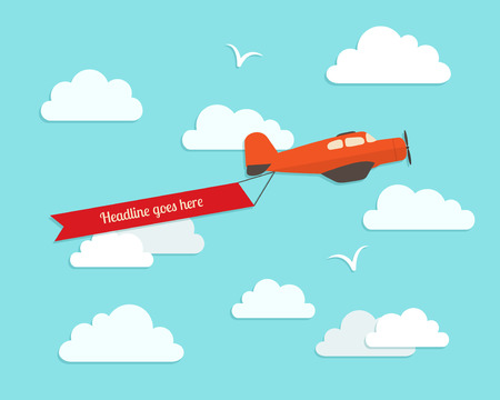Airplane in the cloudy sky. Flat vector illustration. Vector