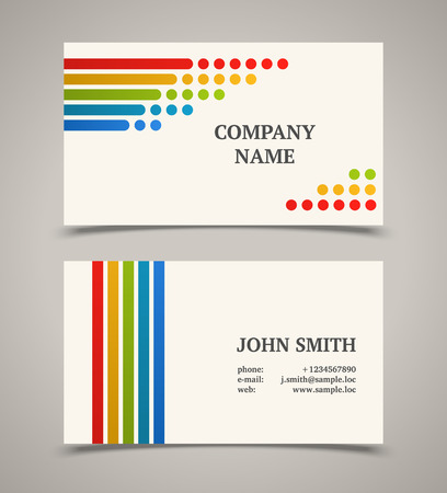 Business card template with color lines and dots.