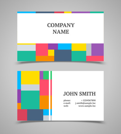 Modern light business card template with color squares.  Vector