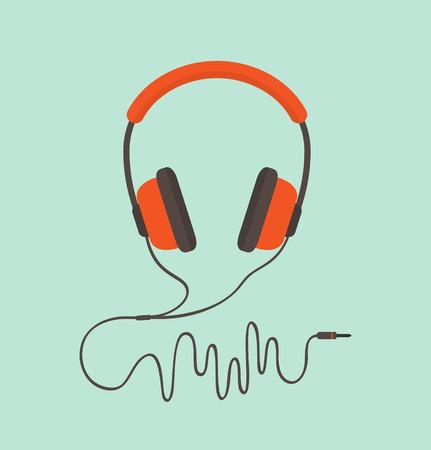 オレンジ色のヘッドフォン。ベクトル イラスト  イラスト・ベクター素材