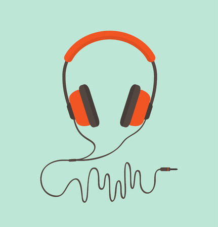 headphones icon: Orange headphones. Vector illustration