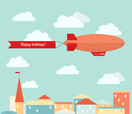 Airship in the cloudy sky, flying over the city. Flat vector illustration. Illustration