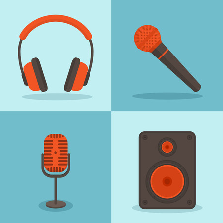 listen to music: Vector music concepts in flat style. Set of icons - microphones, speakers