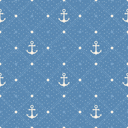 Vintage marine seamless pattern. Paper textured background. Polka dot with anchors on blue background Vector