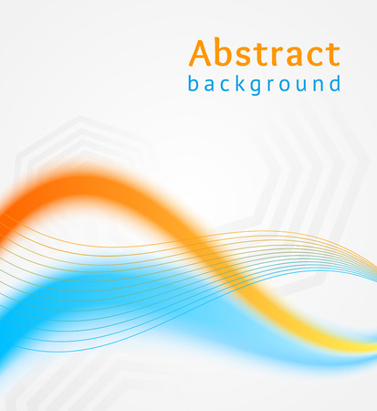 Blue and orange business wave background, flyer, brochure design template Vector