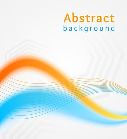 Blue and orange business wave background, flyer, brochure design template Vector