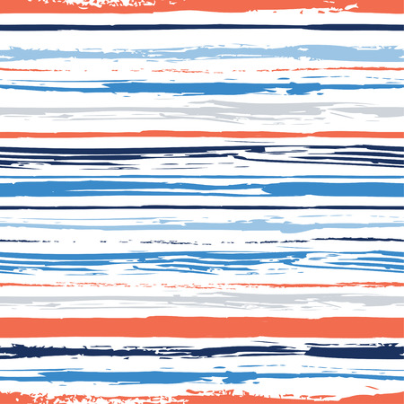 Colorful stripes seamless pattern. Abstract background with hand drawn stripes. Vector watercolor lines background. Ilustração