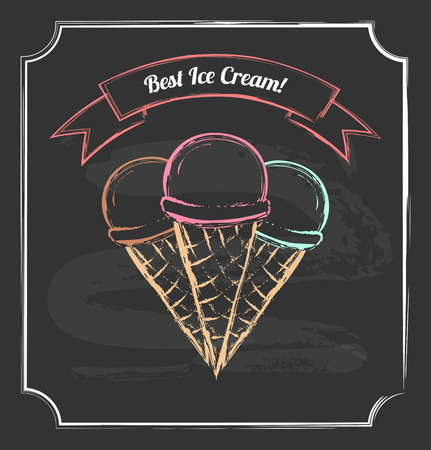 Vintage poster. Chalkboard style. Three ice cream cones with ribbon