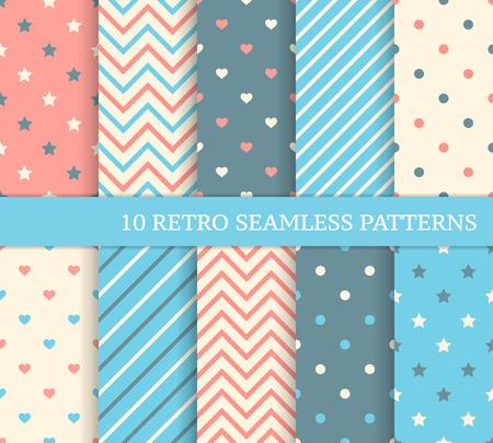 10 retro verschillende naadloze patronen. Zigzag en strepen.