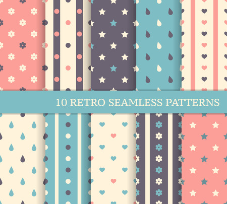 10 retro different seamless patterns  Polka dots and stripes  Vector
