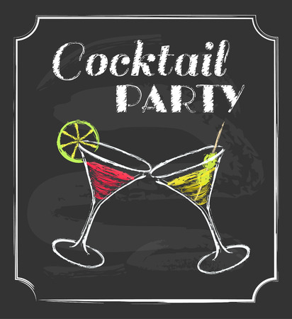 martinis: Vintage cocktail party poster  Chalkboard style