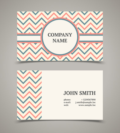 business trends: Business card template with background pattern. Modern retro style.