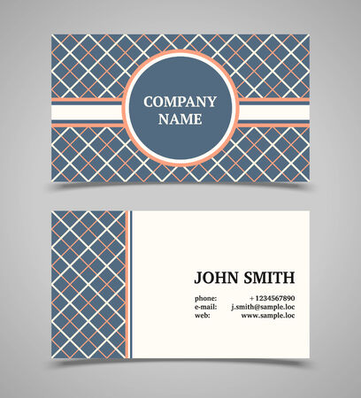 Business card template with background pattern. Modern retro style. Vector