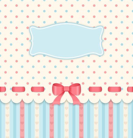 Vintage card with bow on polka dots background.