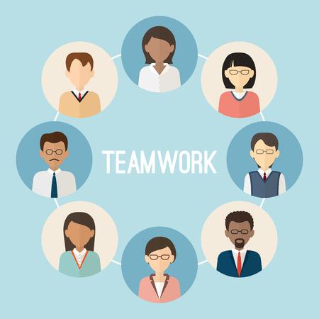 國際團隊合作。七彩虹商務人士面對的問題。時尚的平面樣式。 向量圖像