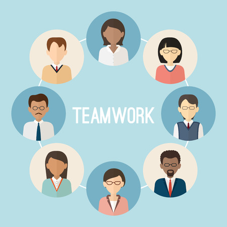 International teamwork. Colorful business people face. Trendy flat style. Vector