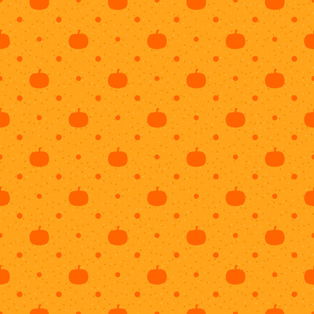 Orange seamless textured polka dots pattern with pumpkin Vector