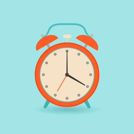 Retro alarm clock. Flat style. Vector