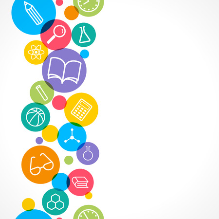 seamless background. Science and education concept. Set of flat icons. Vector