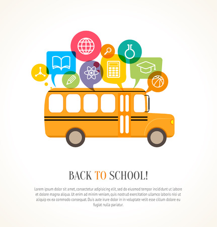 School bus with color speech bubbles and education icons. Concept of school education.  This illustration contains a transparency Illustration