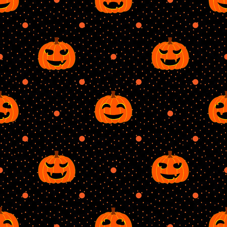 Black seamless textured polka dots pattern with Halloween pumpkin Vector
